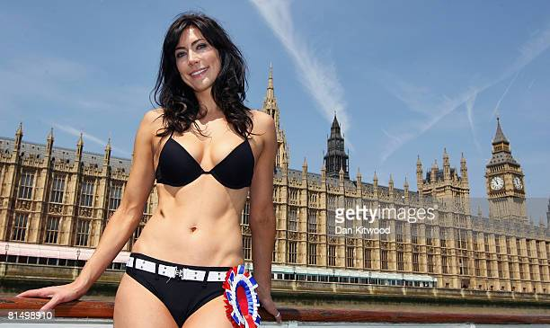 Former Miss Great Britain Candidate Louise Cole poses as she and Amanda Harrington launch a bid for dual candidacy in the forthcoming Henley...