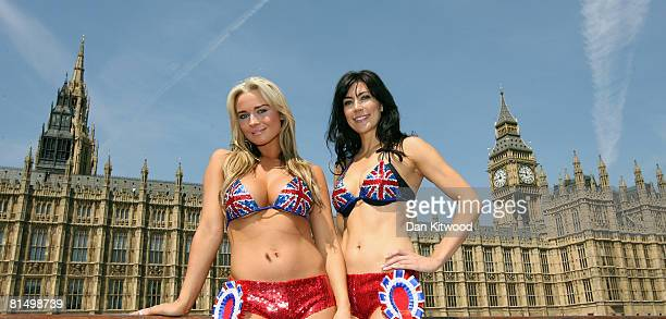 Former Miss Great Britain Candidates Amanda Harington and Louise Cole pose as they launch a bid for dual candidacy in the forthcoming Henley...