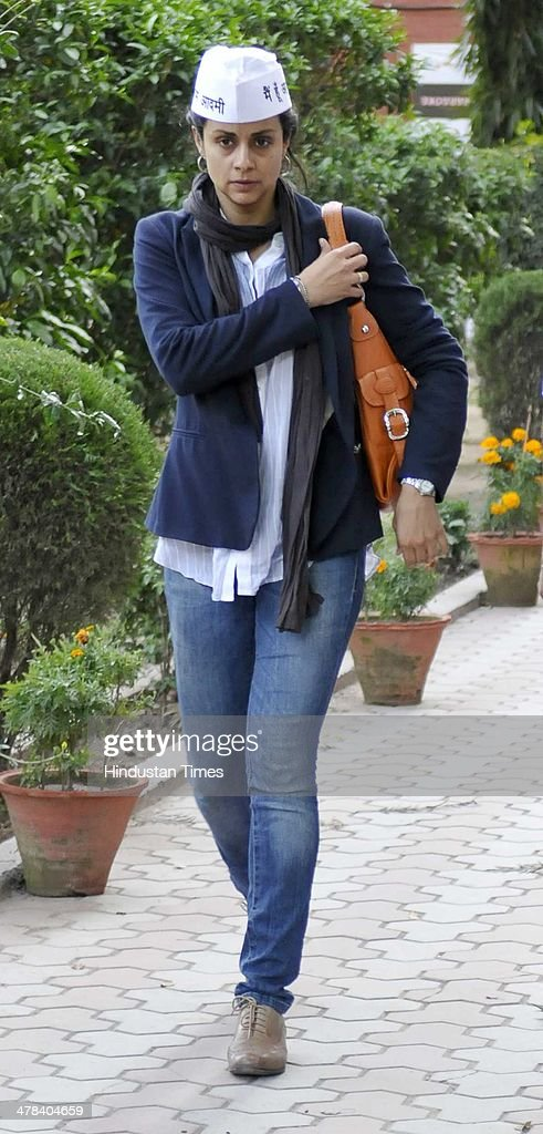 Former Miss India and actress Gul Panag candidate for Chandigarh Lok Sabha Seat after a press conference at Press club on March 13 2014 in Chandigarh.