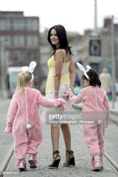 Former Miss Ireland Andrea Roche with Easter Bunnys Sarah Jane Dempsey aged 5 from Blackrock and Kiva Neligan Kaneswaran from Clonee Dublin