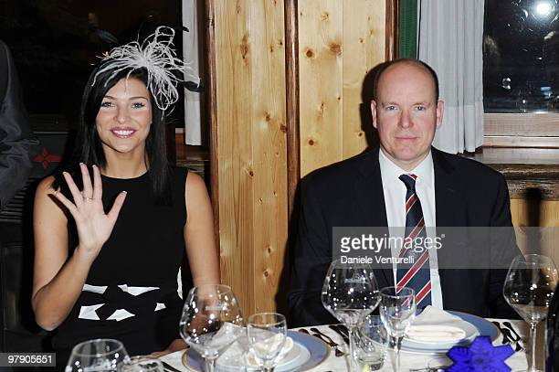 Former Miss Italia Cristina Chiabotto and Prince Albert II of Monaco attend the 5th World Stars Ski Event held at Grand Hotel Sestriere on March 20...
