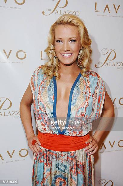 Former Miss Nevada Katie Rees arrives at the Grand Opening of LAVO Restaurant and Nightclub at The Palazzo The Venetian Hotel and Casino Resort on...