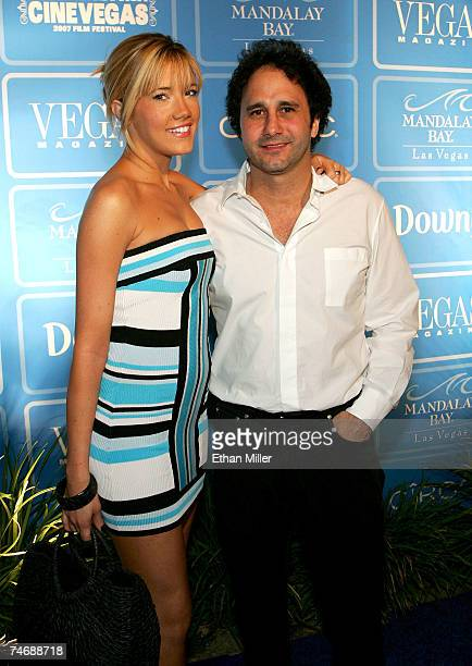 Former Miss Nevada USA Katie Rees and President of the Palms Casino Resort George Maloof arrive at the fourth anniversary party for Vegas Magazine on...