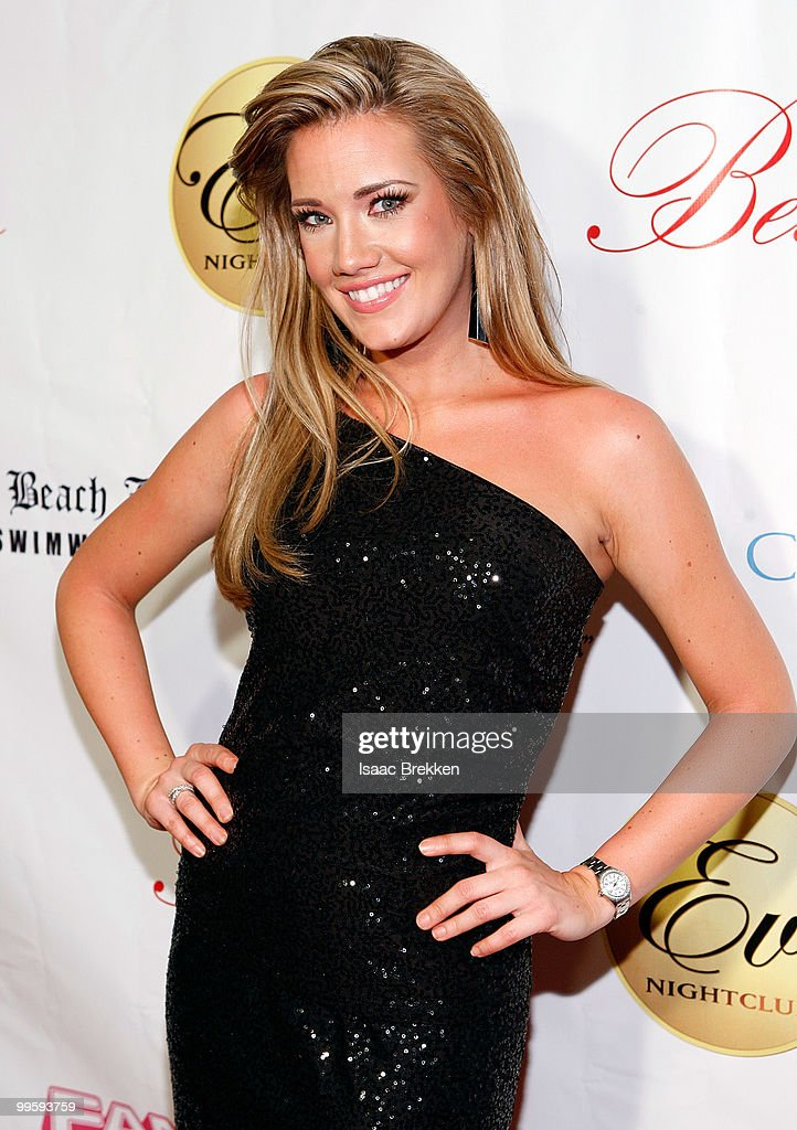 Former Miss Nevada USA Katie Rees arrives at Eve nightclub for a fashion show hosted by Angelica Bridges at CityCenter on May 15, 2010 in Las Vegas, Nevada.