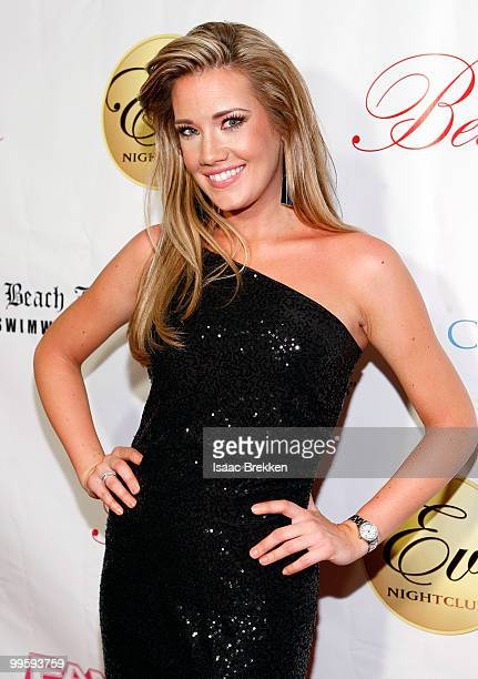 Former Miss Nevada USA Katie Rees arrives at Eve nightclub for a fashion show hosted by Angelica Bridges at CityCenter on May 15 2010 in Las Vegas...