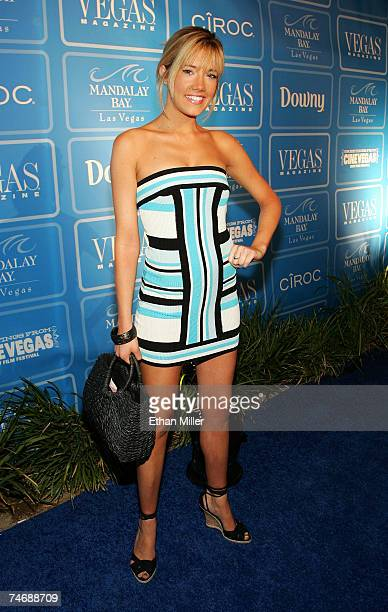 Former Miss Nevada USA Katie Rees arrives at the fourth anniversary party for Vegas Magazine on the closing night of the CineVegas film festival at...