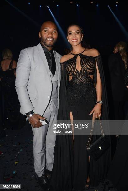 Former Miss SA Joan Ramagoshi and her husband Jeff Madibeng during the Miss SA 2018 beauty pageant grand finale at the Time Square Sun Arena on May...