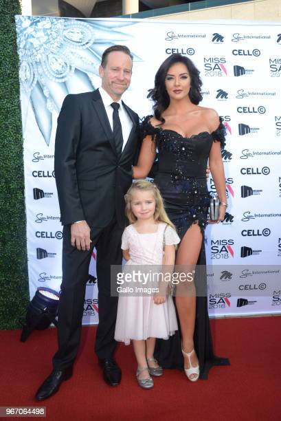Former Miss South Africa Cindy NellRoberts her daughter Aenea with husband Clive during the Miss SA 2018 beauty pageant grand finale at the Time...