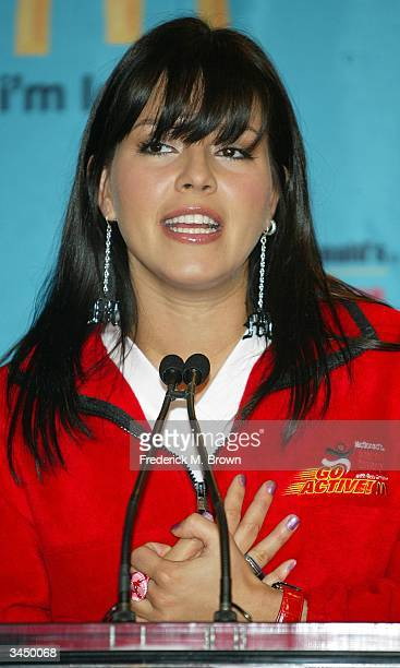 Former Miss Universe Alicia Machado speaks during McDonald's American Challenge Go Active at the McDonald Restaurant on April 20 2004 in Los Angeles...