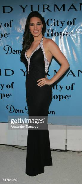 Former Miss Universe Amelia Vega poses at the City of Hope Spirit of Life Gala on November 18 2004 in South Beach Florida