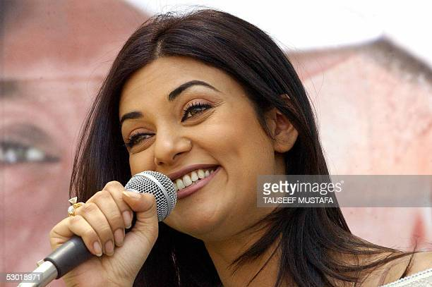 Former Miss Universe and famous Indian actress, Sushmita Sen addresses the media during the TAG Heuer Precision Golf tournament at the world famous...