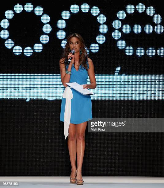 Former Miss Universe Rachael Finch talks ahead the Kooey collection show on the fourth day of Rosemount Australian Fashion Week Spring/Summer 2010/11...