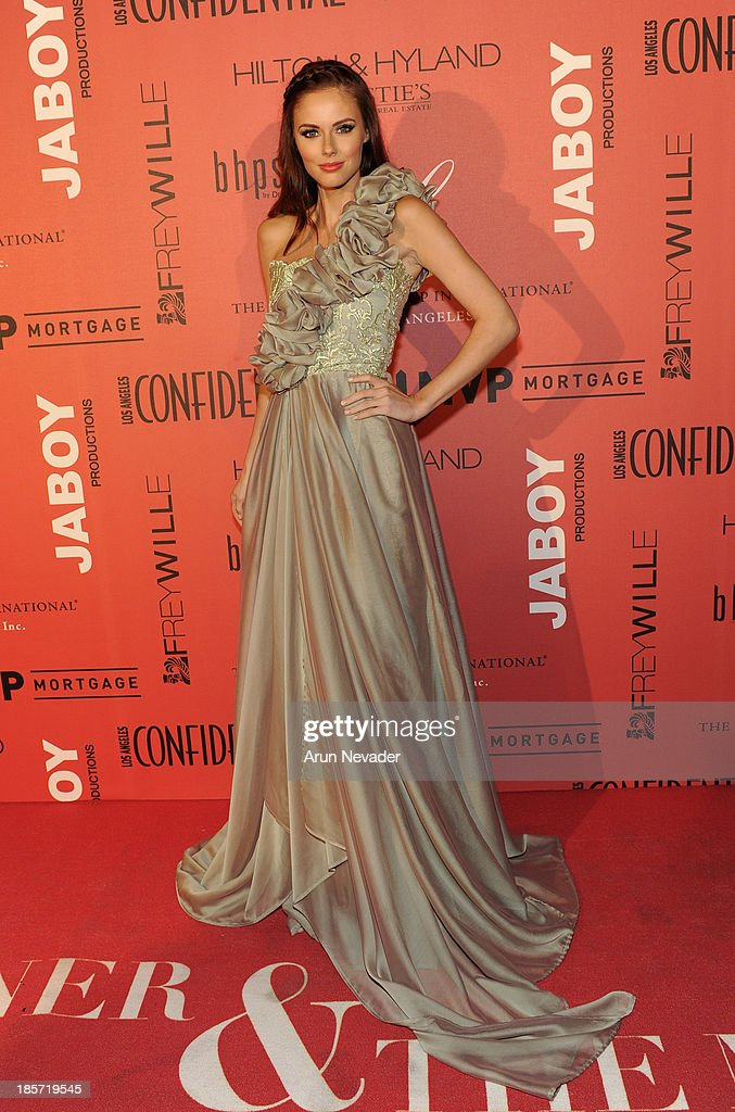 Former Miss USA Alyssa Campanella arrives at the 5th Annual Designer & The Muse Hosted By Kathy Hiltonthe at Mr. C Beverly Hills on October 23, 2013 in Beverly Hills, California.