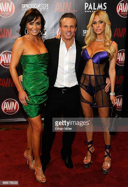 Former Miss USA and adult film actress Kelli McCarty, Vivid Entertainment co-founder Steve Hirsch and actress and model Shauna Sand arrive at the...