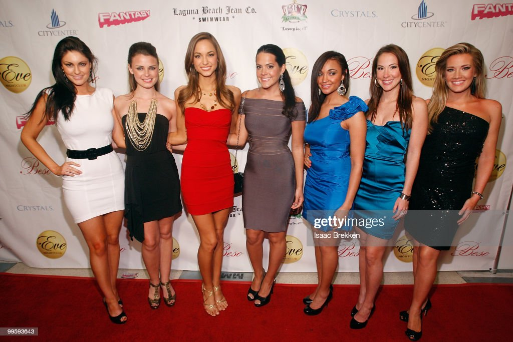 Former Miss USA pageant contestants arrive at Eve nightclub for a fashion show hosted by Angelica Bridges at CityCenter on May 15, 2010 in Las Vegas, Nevada.