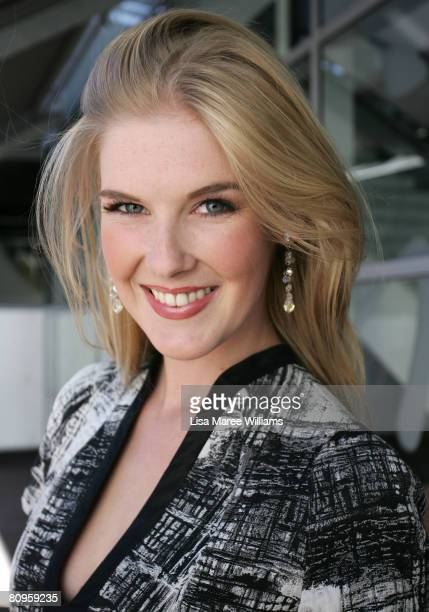 Former Miss World Australia Caroline Pemberton attends the fifth day of the Rosemount Australian Fashion Week Spring/Summer 2008/09 Collections at...