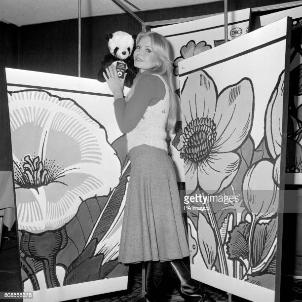 Former Miss World Eva RueberStaier with the symbol of the World Wildlife Fund at a reception in London to launch a new range of paper cups featuring...
