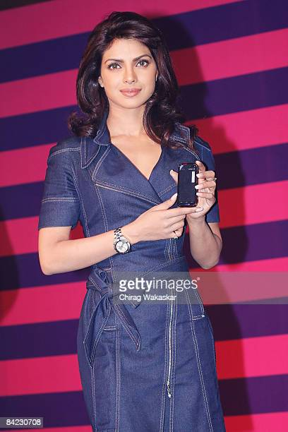 Former Miss World Priyanka Chopra of India attends the launch of the Nokia Xpress Music at Taj Land's End on January 9 2009 in Bombay India