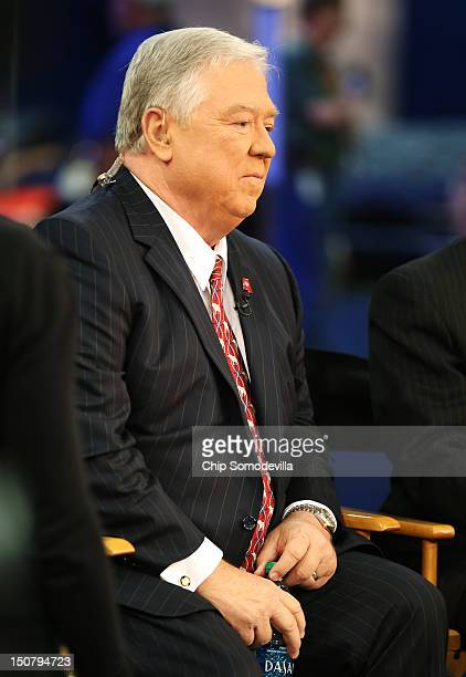 Former Mississippi Gov Haley Barbour prepares to give an interview ahead of the Republican National Convention at the Tampa Bay Times Forum on August...