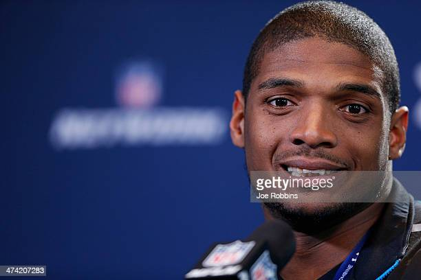 Former Missouri defensive lineman Michael Sam speaks to the media during the 2014 NFL Combine at Lucas Oil Stadium on February 22, 2014 in...