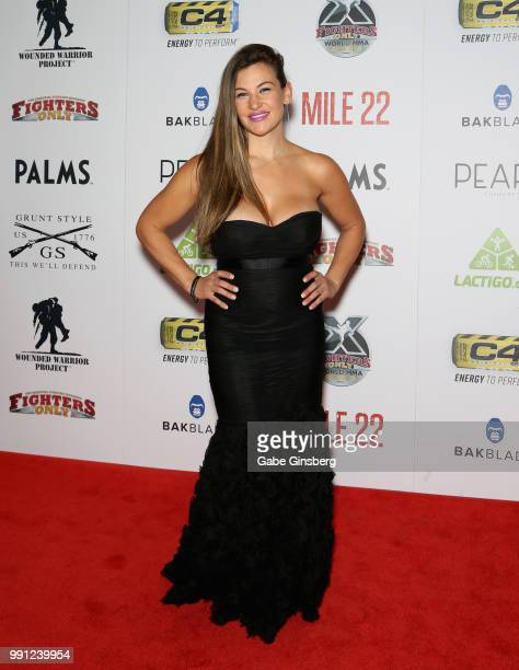 Former mixed martial artist Miesha Tate attends the 10th annual Fighters Only World Mixed Martial Arts Awards at Palms Casino Resort on July 3, 2018...