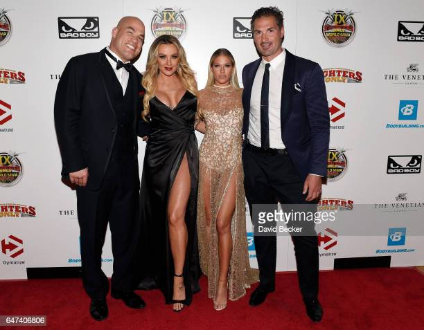 Former mixed martial artist Tito Ortiz television personalities Amber Nichole Miller and Barbie BlankSouray and NHL player Sheldon Souray attend the...