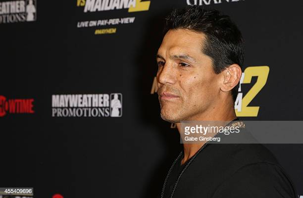 """Former mixed martial arts fighter Frank Shamrock arrives at Showtime's VIP prefight party for """"Mahem: Mayweather vs. Maidana 2"""" at the MGM Grand..."""
