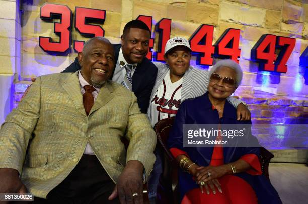 Former MLB and Hall of Fame Player Hank Aaron comedian/actor Chris Tucker actor Emmanuel Lewis and Billye Aaron attend the Atlanta Braves Unveil A...