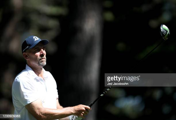 Former MLB athlete John Smoltz tees off from the fourth hole during the final round of the American Century Championship at Edgewood Tahoe South golf...