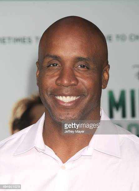 Former MLB baseball player Barry Bonds arrives at the Los Angeles premiere of 'Million Dollar Arm' at the El Capitan Theatre on May 6 2014 in...