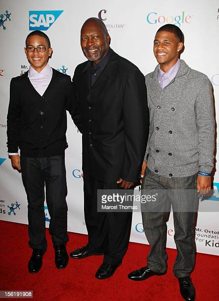 Former MLB pitcher Dave Stewart and son Tarik Stewart and Jalen Stewart attend the 8th All Star Celebrity Classic benefiting the Mr October...
