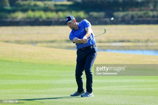 Former MLB pitcher John Smoltz plays a shot on the seventh hole during the first round of the Diamond Resorts Tournament Of Champions at Tranquilo...