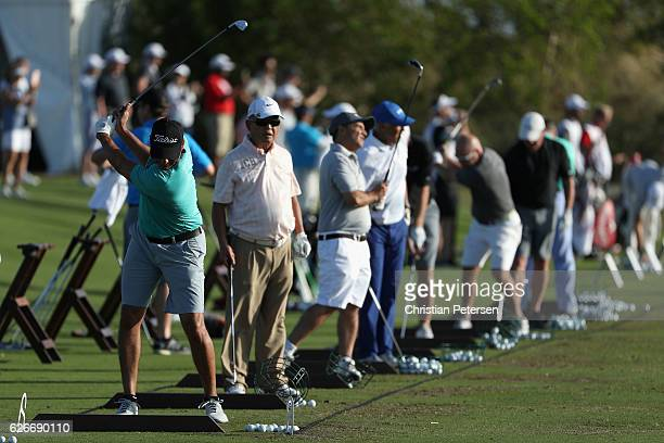 Former MLB player and amateur golfer Derek Jeter practices on the driving range for the proam ahead of the Hero World Challenge at Albany The Bahamas...