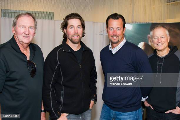 Former MLB player Charlie Hough New York Mets pitcher RA Dickey former MLB player Tim Wakefield and former MLB player Jim Bouton attend the Tribeca...