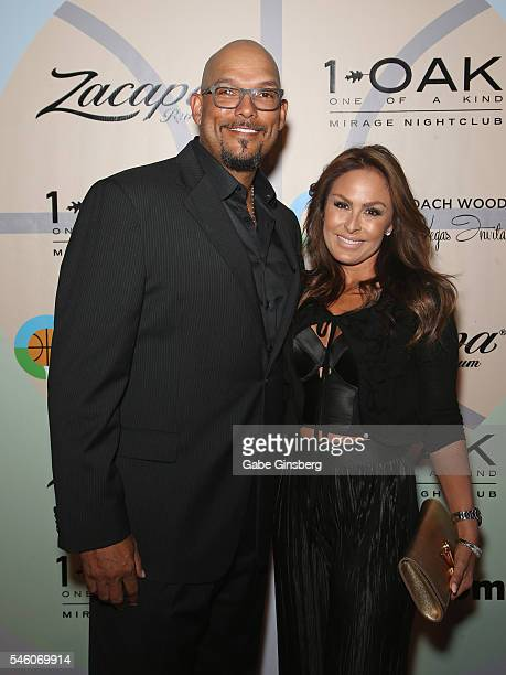 Former MLB player David Justice and his wife Rebecca Justice attend the Coach Woodson Las Vegas Invitational red carpet and pairings party at 1 OAK...