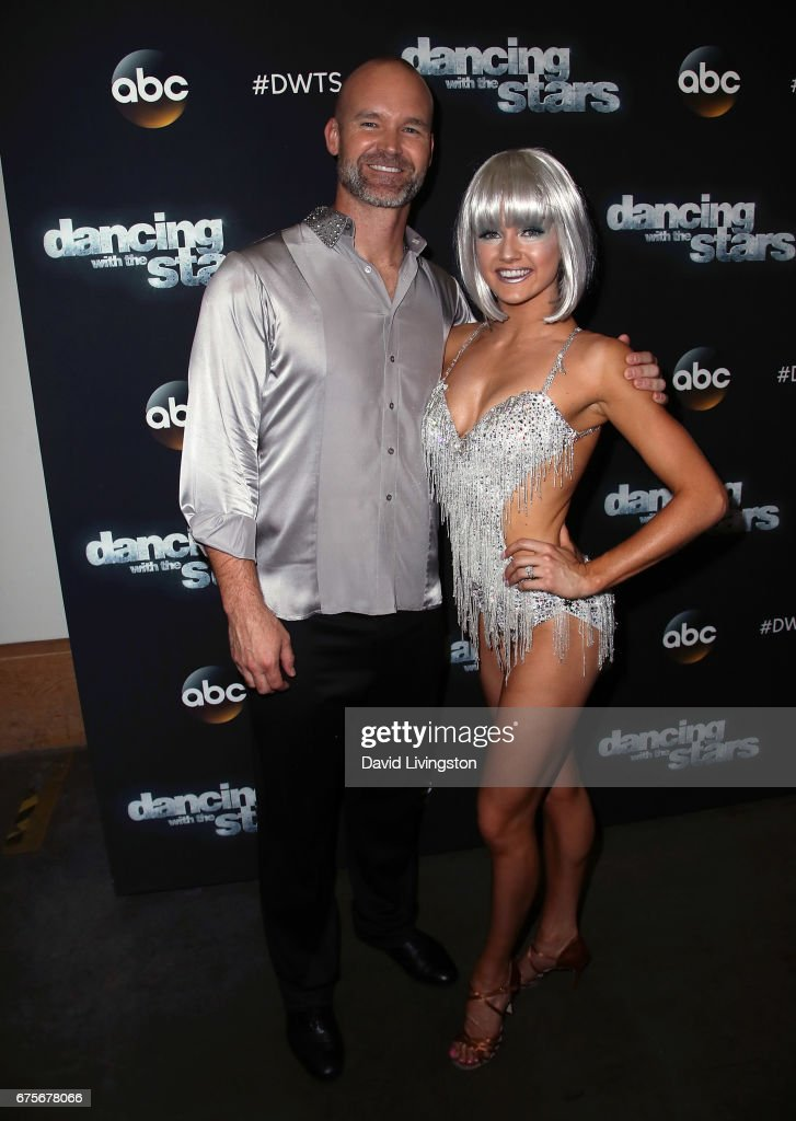 Former MLB player David Ross (L) and dancer Lindsay Arnold attend 'Dancing with the Stars' Season 24 at CBS Televison City on May 1, 2017 in Los Angeles, California.