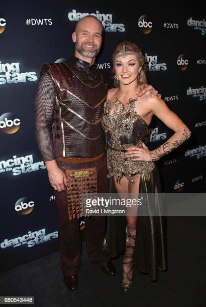 Former MLB player David Ross and dancer Lindsay Arnold attend Dancing with the Stars Season 24 at CBS Televison City on May 8 2017 in Los Angeles...