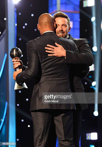 Former MLB player Derek Jeter and Actor Ben Affleck accept the ICON award at The 2015 ESPYS at Microsoft Theater on July 15 2015 in Los Angeles...
