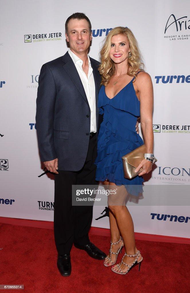 Former MLB player Paul Konerko (L) and wife Jennifer Konerko attend the 2017 Derek Jeter Celebrity Invitational gala at the Aria Resort & Casino on April 20, 2017 in Las Vegas, Nevada.