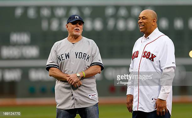 Former MLB players Ron Blomberg and Orlando Cepeda stand on the field during a pregame ceremony in their honor before a game between the Boston Red...