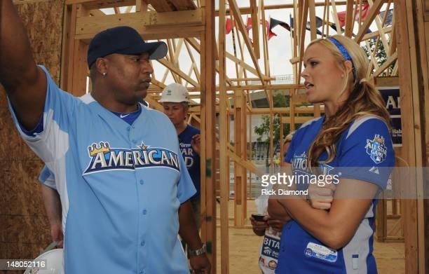 Former MLB star Bo Jackson and USA Softball's Gold Medalist hurler Jennie Finch attend the 2012 Taco Bell AllStar Legends Celebrity Softball Game at...