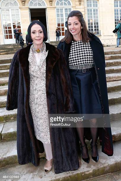 Former model Kouka and her granddaughter attend the Christian Dior show as part of Paris Fashion Week Haute Couture Spring/Summer 2014 on January 20...