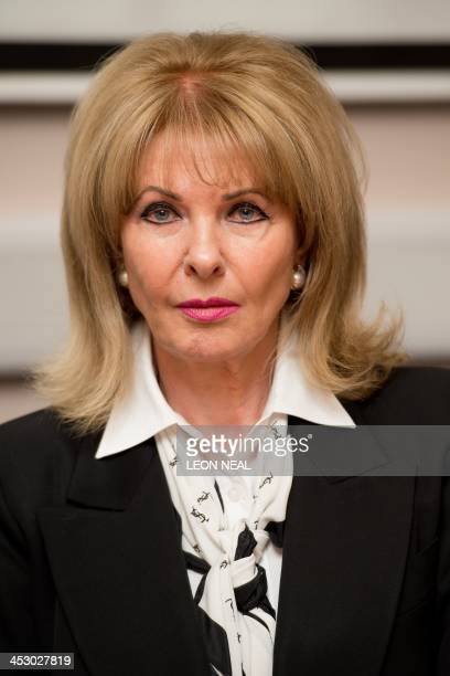 Former model Mandy RiceDavies is pictured at a press conference in London on December 2 for the launch of lawyer Geoffrey Robertson's book entitled...
