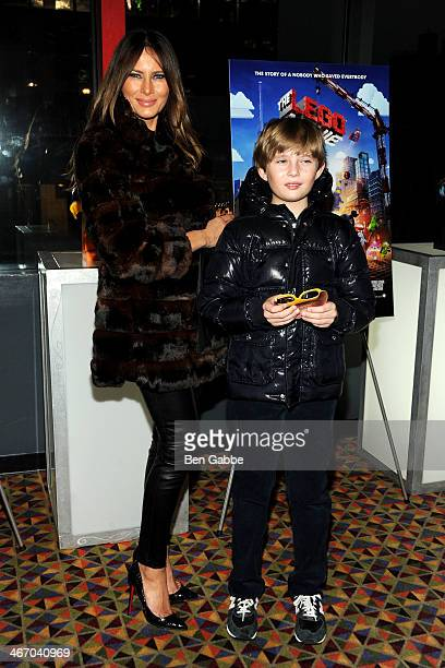 Former model Melania Trump and son Barron Trump attend 'The LEGO Movie' screening hosted by Warner Bros Pictures and Village Roadshow Pictures at AMC...
