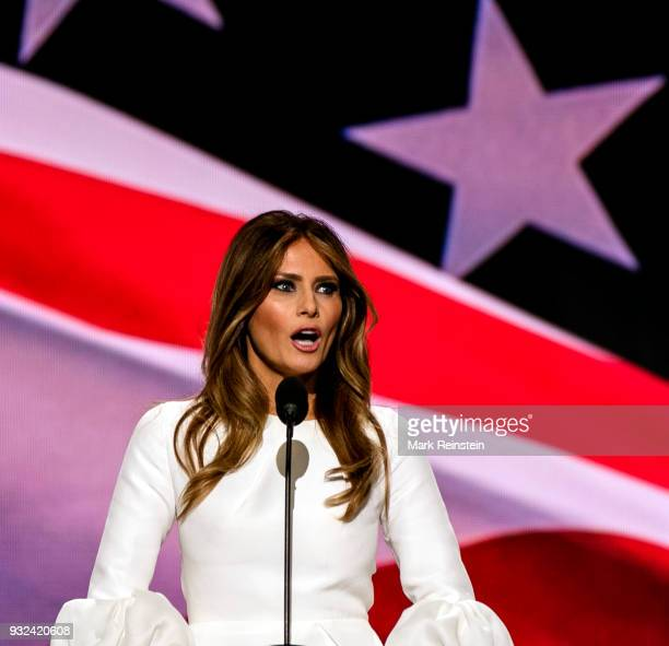 Former model Melania Trump speaks from the podium on first night of Republican National Convention at Quicken Loans Arena Cleveland Ohio July 18 2016
