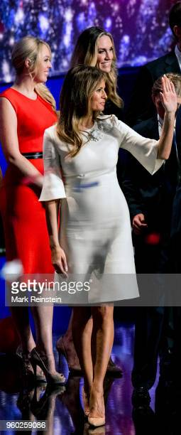 Former model Melania Trump waves from the stage at the close of the Republican National Convention at Quicken Loans Arena Cleveland Ohio July 21 2016...