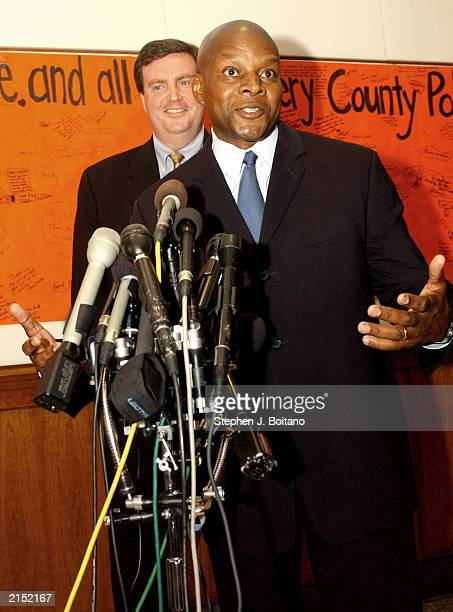 Former Montgomery County Police Chief Charles Moose speaks at a news conference with County Executive Douglas M Duncan on Thursday July 10 2003 in...