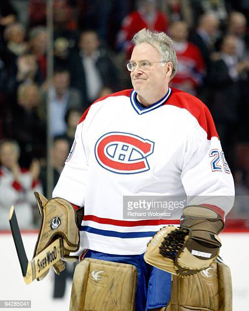 Former Montreal Canadien Ken Dryden skates during the Centennial Celebration ceremonies prior to the NHL game between the Montreal Canadiens and...