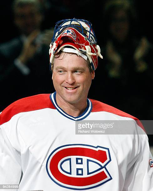 Former Montreal Canadien Patrick Roy is introduced during the Centennial Celebration ceremonies prior to the NHL game between the Montreal Canadiens...