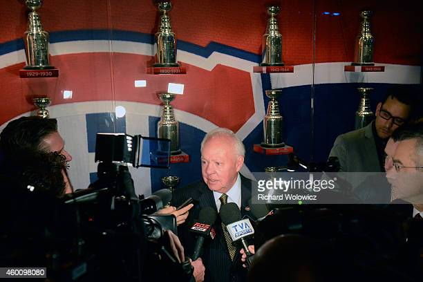 Former Montreal Canadien Yvan Cournoyer speaks to the media during ceremonies for late Montreal Canadiens Jean Beliveau at the Bell Centre on...